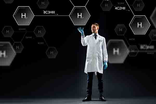 scientist with virtual chemical formula projection